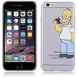 Fundas para iPhone 6 4.7'' Simpson Homer Comer Manzana Carcasa Case Gel Transparente con diseño personalizado, Cover Silicona TPU iPhone 6S 4.7'' con Figura dibujos animados de Alta Resistencia y Flexibilidad kaser