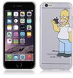 kaser Cover Simpson Homer Mangia Mela Per iPhone 6 6S 4.7'' Case TPU Gomma Morbida Trasparente Silicone Ultra Sottile Slim 0,33 MM Disegno Personalizzato Cartoni Animati (iPhone 6 6S 4.7'')