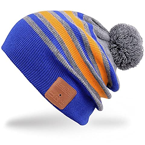 Rotibox Wireless Bluetooth Beanie Hat Cap Striped Pom Pom with Headphones Headsets Earphones Speaker Hands-free Call for Gym Outdoor Sports Skiing Running Skating Walking,Christmas Gifts -