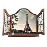 sourcingmap Haus Art Dekor 3D-Effekt falschen Fenster Eiffelturm Muster Wandaufkleber Aufkleber