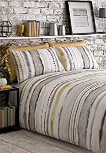 Tie Dyed-style Graded Stripes Yellow Grey White Cotton Blend Double (plain White Fitted Sheet - 137 X 191cm + 25) 4 Piece Bedding Set