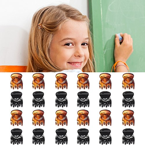 QtGirl 24 Stück Haarkrallen Kinder Mini 1.5cm Kunststoff Haarspangen Mädchen Schwarz Braun Mini Haarklammer Starke Kraft Hairpins Clips