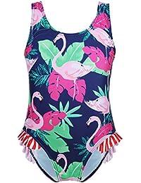 1b913e01ea dPois Fille Justaucorps Gymnastique Yoga Body Combinaison Maillot de Bain 1  Pieces Bébé Imprimé Cygne Floral