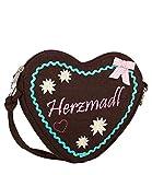 SIX Umhängetasche: Bestickte Handtasche in Herzform aus hochwertigem Filz, ideal als Trachtentasche, mit Zierschleife, Abnehmbare Riemen (427-437)