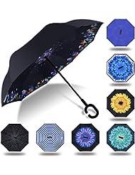 HISEASUN Parapluie Inversé Innovant Anti-UV Double Couche Coupe-Vent Mains Libres poignée en Forme C - Idéal pour Voyage et Voiture