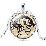 Femmes Mystiques Dragon Chinois Ancien Temps Cristal Gem Art Dangle Chaine En Argent Pendentif...