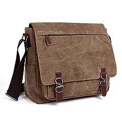 Idea Regalo - LOSMILE Uomo Tela Borsa a Tracolla Borsa di Tela Sacchetto del Messaggero Sacchetto di Messenger bag 16 pollici Laptop Borsa. (Caffè)