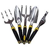 BESTOMZ 5 Stück Garten Werkzeug Set Kelle Gabel Pflanzmaschine Grubber Striegel