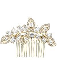 Ever Faith - Or-ton plein Zircon feuille rhombe de mariée mariage cheveux peigne Transparent N04435-2