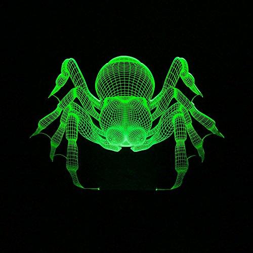 Generic Kreative LED Spinne 3D optische Täuschung Beleuchtung Dekoration für Halloween, Weihnachten Ferienzeit, perfekte Nachtlicht für Kinder, Kinder, atemberaubende dekorative Schreibtischlampe Stimmungsbeleuchtung für Erwachsene, Plus-Serviette Clips als Geschenk