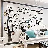 DIY 3D Riesiger Bilderrahmen Baum Wandtattoos Fotorahmen Baum Wandaufkleber Kristall Acryl Malen Wanddeko Wandkunst (Schwarz, Recht, L)