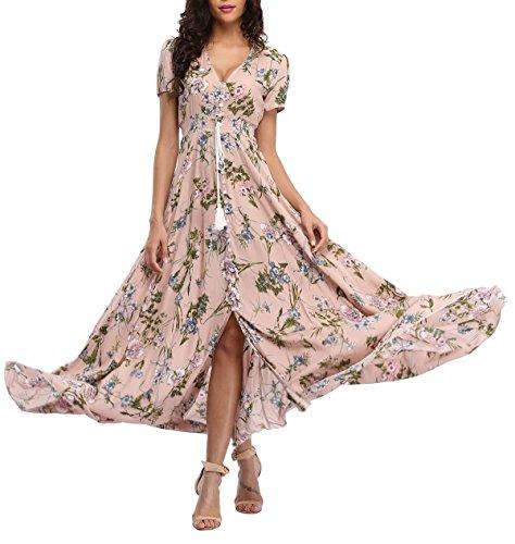 VOGMATE Femme Robe Chic Longue Col V à Fleur Manches Courtes en Coton Robe Maxi de Plage D'été Casual (S-2XL)