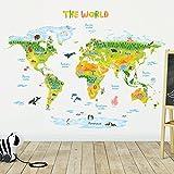 Decowall DLT-1715 Weltkarte Tierweltkarte Tiere Wandtattoo Wandsticker Wandaufkleber Wanddeko für Wohnzimmer Schlafzimmer Kinderzimmer (Extra Groß) (Englisch Ver.)