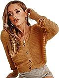 ECOWISH Damen Casual Pullover V Ausschnitt Kurz Strickjacke Button Down Cropped Strick Fledermausärmel Leicht Cardigan Kaffee XL