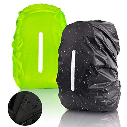 KATOOM 2er Regenhülle Rucksack Schulranzen Regenschutz wasserdichte Regenüberzug Ranzen Rucksackschutz für Outdoor Camping Wandern mit Reflektorstreifen Sicherheitshülle