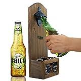 AHDECOR Hölzerne Flaschenöffner mit Kronkorkenauffangbehälter, Wand Flaschenöffner Flasche Öffner Bar Bier, 12 x 7 x 30CM