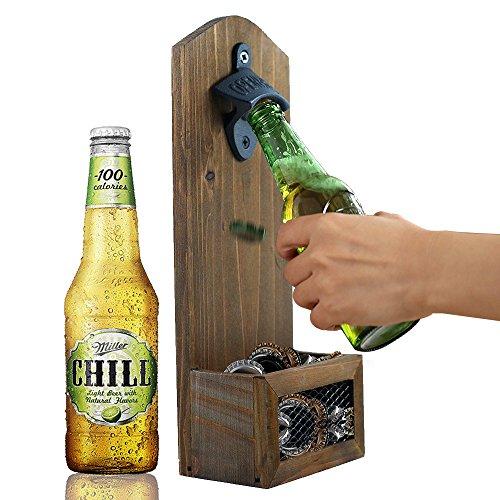AHDECOR Hölzerne Flaschenöffner mit Kronkorkenauffangbehälter, Wand Flaschenöffner Flasche Öffner Bar Bier, Idear Geschenk für Männer und Bierliebhaber, 12 x 7 x 30CM