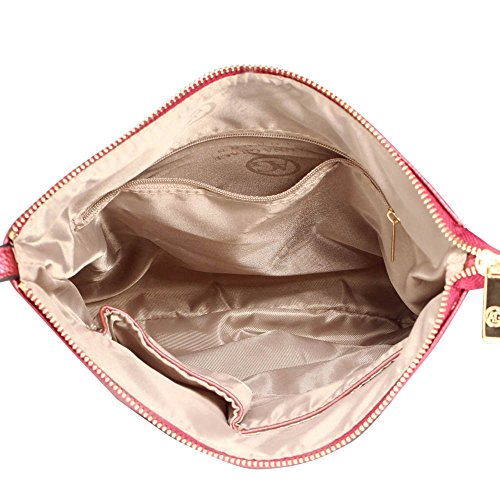 Damen Kreuz Körper Handtaschen Damen Faux Leder Tasche Vorderseite Reißverschluss Tasche Einstellbar Lange Schulter Starp Gold Metall Arbeit Einschließlich Zwei Öffnen Burgund