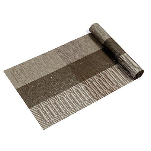 Kompatible Tischset Tischläufer, U\'Artlines 1 Stück Exquisite Tischläufer für Tisch Wärmedämmung Fleckenbeständige gewebte Vinyl Tischläufer 30x180cm (Tischläufer, Braun & Grau)