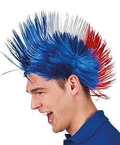 Boland 62024 – Erwachsenenperücke Punk Frankreich, Einheitsgröߟe, blau / weiߟ / rot