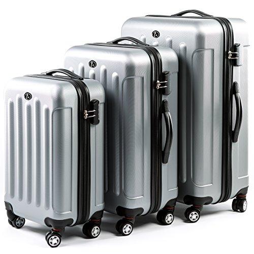 FERGÉ ensemble de valise (set de 3) LYON - 3 pièces de bagages avec 4 roues 360° argent en ABS - (DURE-FLEX) rigide et léger
