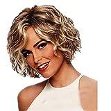 ZEZKT Perruque Femme Naturelle Cheveux Ondulée Courte Perruque Cheveux Moelleux Bouclés Pour Femme Chaleur Résistant Mode Élégant 30cm Blonde