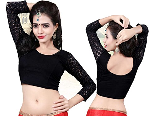 Fertige, Free Size Saree Blouse, Blusen, Bollywood, Sari, Goa, Indien, Hochzeit, Kleid, Oberteil, Party,112 (Black) -