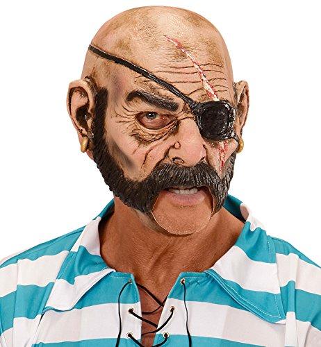Widmann 1529-Maske 3/4mit Mund offen Pirat, Pink/Schwarz, Einheitsgröße