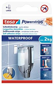 tesa Powerstrips 6 languettes LARGE Waterproof jusqu'à 2 kg