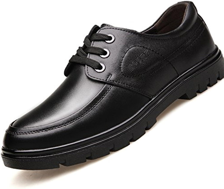 HUAN Herrenschuhe Herren Schuhe Leder Frühling Sommer Herbst Komfort Formale Schuhe Lace Up für Casual Black