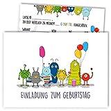 12x Geburtstagseinladungen mit Umschlägen | Monster-Party | Einladungskarten-Set für Kinder-Geburtstag | Für Jungen & Mädchen | Einladung: Luftballon, niedlich, süß, lustig, Baby, bunt, weiß, cool