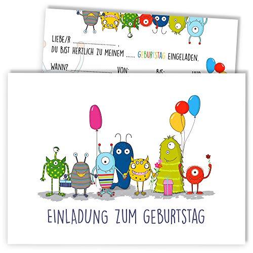 12x Geburtstagseinladungen mit Umschlägen | Monster-Party | Einladungskarten-Set für Kinder-Geburtstag | Für Jungen & Mädchen | Einladung niedlich süß lustig | Baby Junge | Luftballon bunt weiß cool (Monster Party Geburtstag)