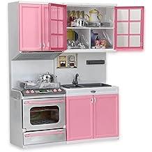 Zimo - Juguetes de Cocina para Niños Cocinero Gabinete Estufa Infantil Juego de Imaginación Color Rosa Regalo para Niñas Niños