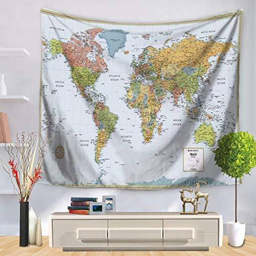Tapestry Wall Hanging,Licht Bunt Weltkarte Digital Print Fabric Große Jahrgang Inder Böhmen Hippie Gothic Psychedelic Trippy Ethnische Modern Abstrakt Kunst Home Wand Dekor Für Wohnzimmer Schlafzim