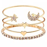 Best Bracelets For 4 - Shining Diva Fashion Gold-Plated Jewellery Stylish Crystal Multilayer Review