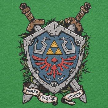 NERDO - Power Courage Wisdom Shield - Herren T-Shirt Grün