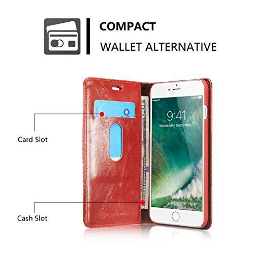 Apple iPhone 6/iPhone 6S Hülle - Kartenfächer, Brieftasche Combo Stützung Magnetische Adsorption Glätten Schutzhülle für Apple iPhone 6/iPhone 6S - Braun Rot