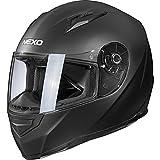 Nexo Motorradhelm Basic II, Integralhelm, herausnehmbares Komfortpolster, große mehrfache Be- und Entlüftung, Nasen-, Kinnwindabweiser, klares und kratzfestes Visier, Ratschenverschluss, schwarz, M