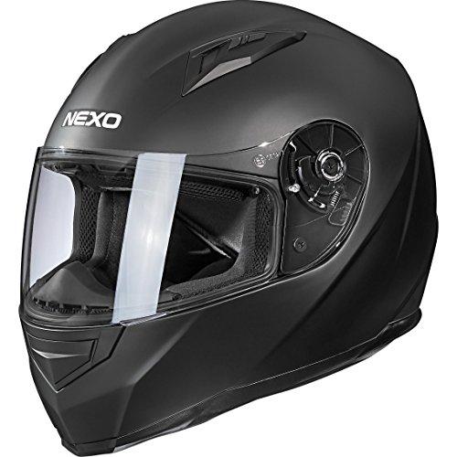 Nexo Motorradhelm, Vollvisierhelm, Integralhelm Basic II, herausnehmbares Komfortpolster, Be- und Entlüftung, Nasen-, Kinnwindabweiser, klares, kratzfestes Visier, Ratschenverschluss, matt Schwarz, XS