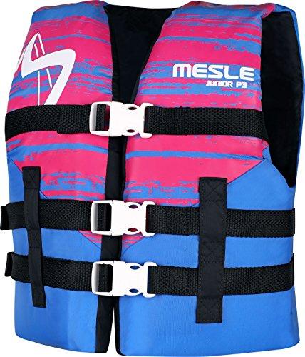 MESLE Schwimmweste P3 Junior, 50 N Schwimmhilfe für Kinder bis 40 kg, blau-pink