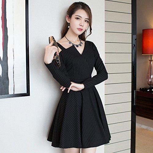 MOMO Frühlingsfrauen Art und Weise Dünnes Zurück Halter Asymmetrisches Gestreiftes Sexy Kleid,Streifen,M (Zurück Kleid Krawatte Stricken)