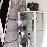 Cotton Ball Lights LED Lichterkette, Baumwolle, Weiß/Stein / Mid Grau/Antracite