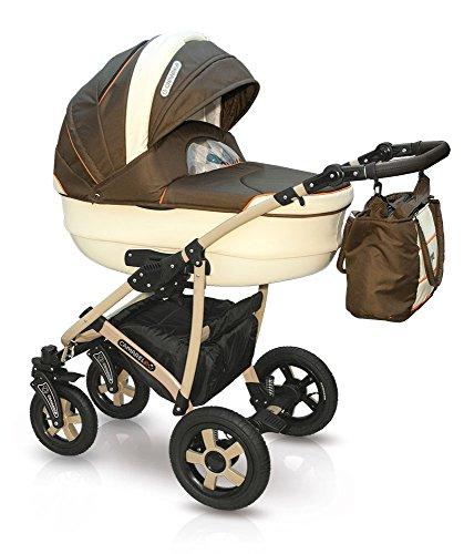 Lux4Kids Kinderwagen Set Babywanne Sportsitz Babyschale Wickeltasche Matratze Buggy optionales Zubehör 3in1 VIP Luxus Made in EU Kinderwagen Carmela + Autositz Creme-Braun (Creme Carmela)