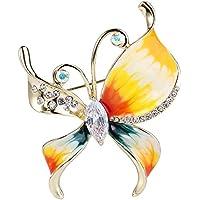 EVER FAITH® Gold-Tone austriaco zircone cristallo multicolore dello smalto farfalla spilla pin Cancella