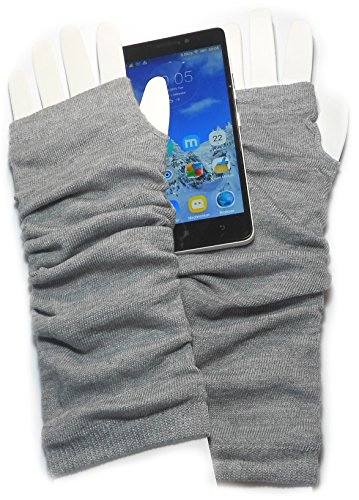 PRESKIN – Stylishe Arm-Stulpen Handschuhe, Armstulpen Uni, Pulswärmer-Handschuh, praktisch für Touchscreen, Smartphone, Navi, Tablet, cool für\'s Büro, Schule, Party, Karneval