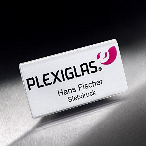 10 Stck. Magnet Namensschilder aus Plexiglas (4,29 €/Stck. netto) im Format 70 x 35 mm inkl. passender Kartoneinlagen