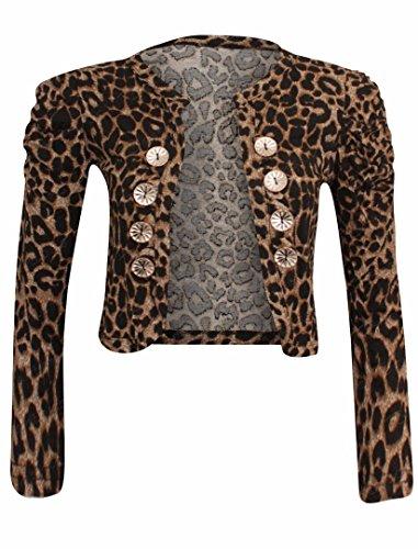 Frauen Des Leopard Druckes 8 Taste Militär Bolero Shrug (Taste Zucken)