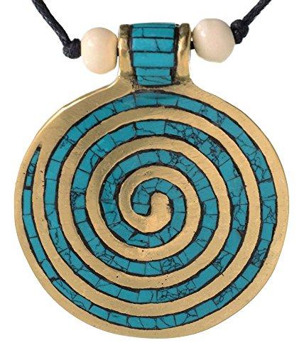 Chakra-Kette mit Endlos-Spirale türkis 6 cm -buddhistische Halskette