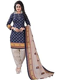 AnK Women's Blue Cotton Unstitched Dress Material with Cotton Dupatta