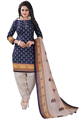 Crazy Women's Clothing Daily Wear Cotton Patiala Dress Material with Cotton Dupatta...